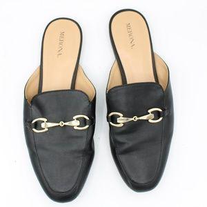 Merona Black Slip On Loafer Mules Slides Size 9.5